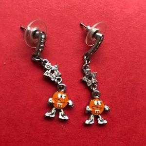 M&M orange long dangling Earrings